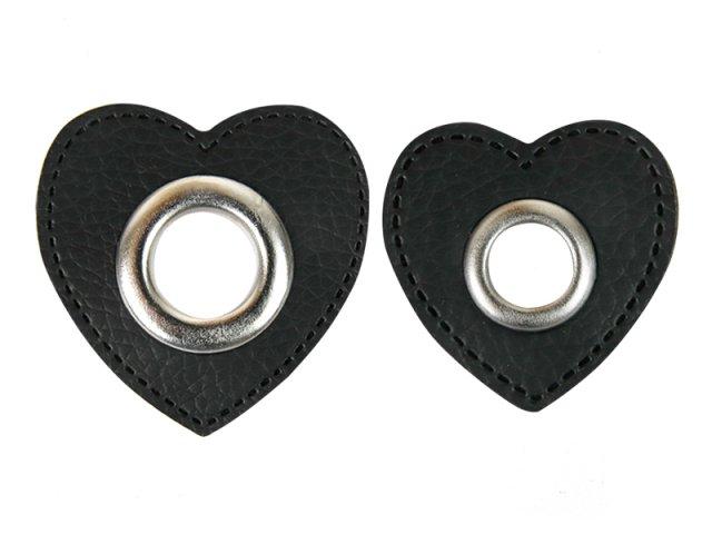 Patch - Herz - schwarz - silber