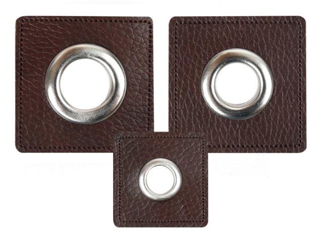 Patch - Quadrat - dunkelbraun - silber