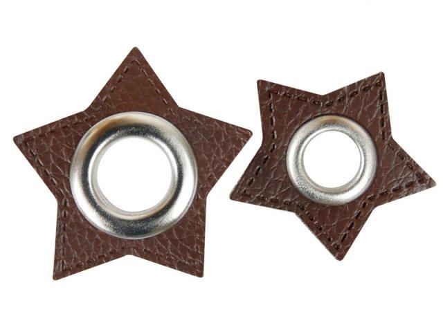 Patch - Stern - dunkelbraun - silber