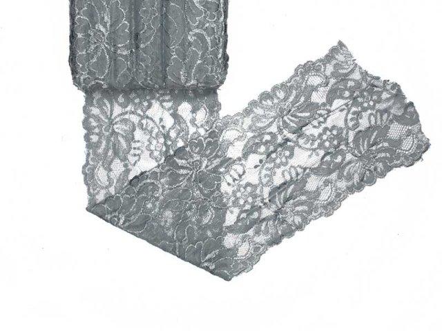 Spitze elastisch - 150mm breit - hellgrau