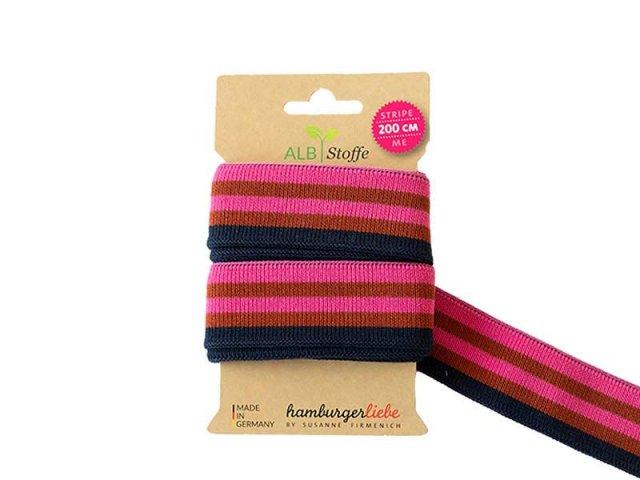 Zierband - Stripe Me - Albstoffe - pink - braun - dunkelblau