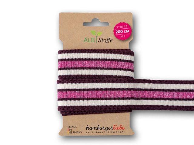 Zierband - BIO Stripe Me College - Glow - Glitzer - Albstoffe - Sparkle - weinrot - natur - rosa