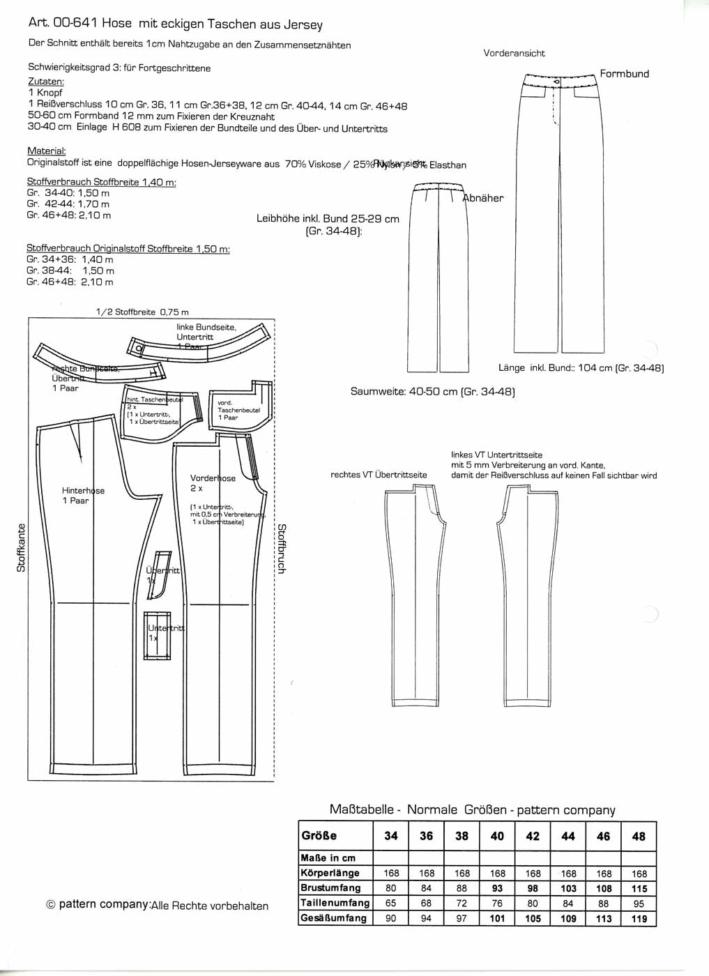Schnittmuster - Hose - 00-641 - Pattern Company