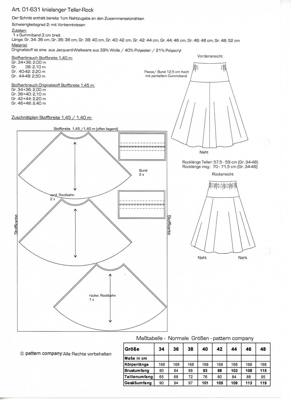 Schnittmuster - Teller-Rock - 01-631 - Pattern Company