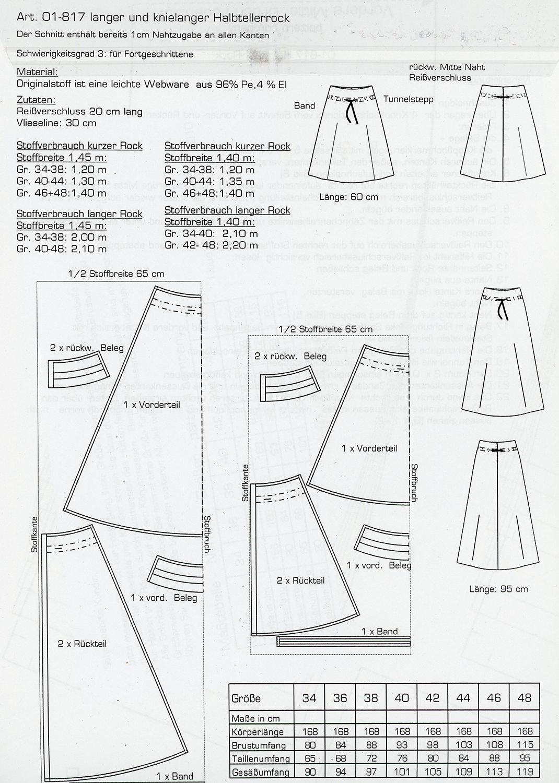 Schnittmuster - Halbtellerrock - 01-817 - Pattern Company
