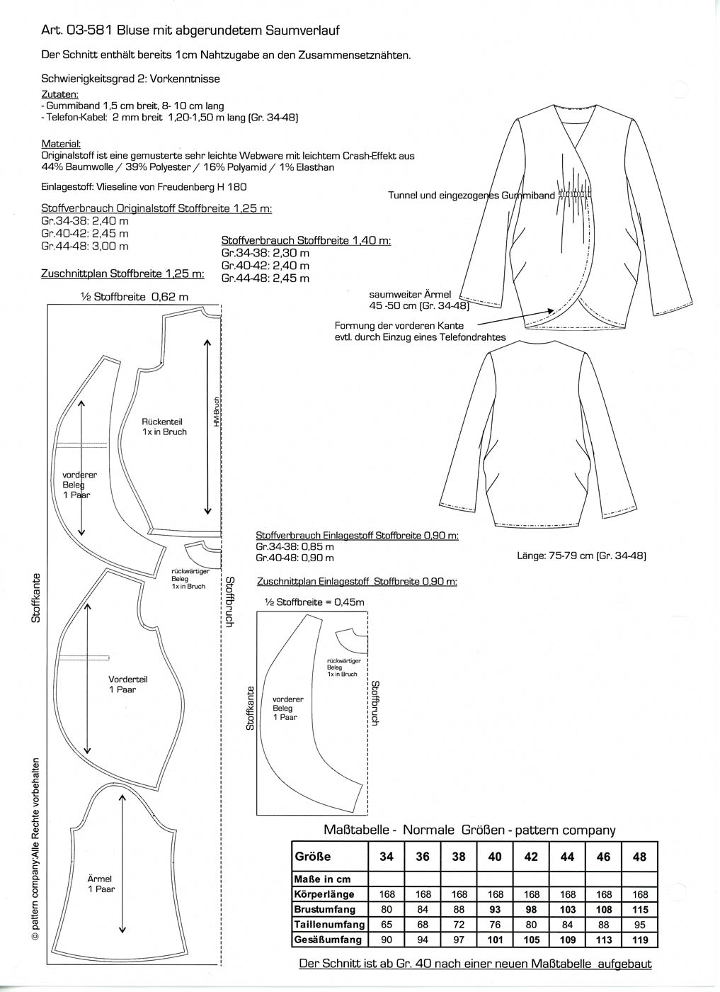 Schnittmuster - Bluse - 03-581 - Pattern Company