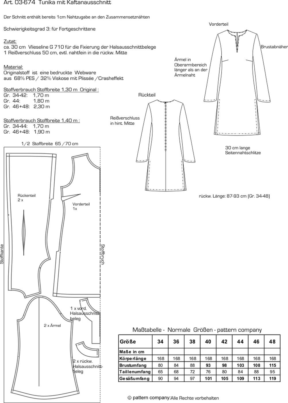 Schnittmuster - Tunika mit Kaftanausschnitt - 03-674 - Pattern Company