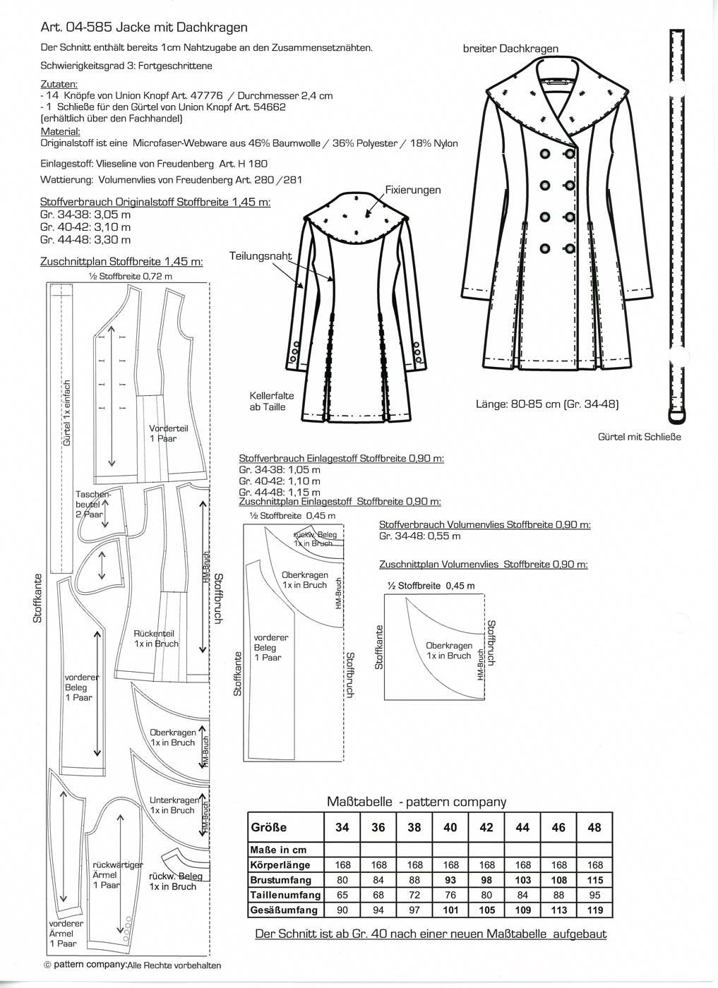 Schnittmuster - Jacke mit Dachkragen - 04-585 - Pattern Company