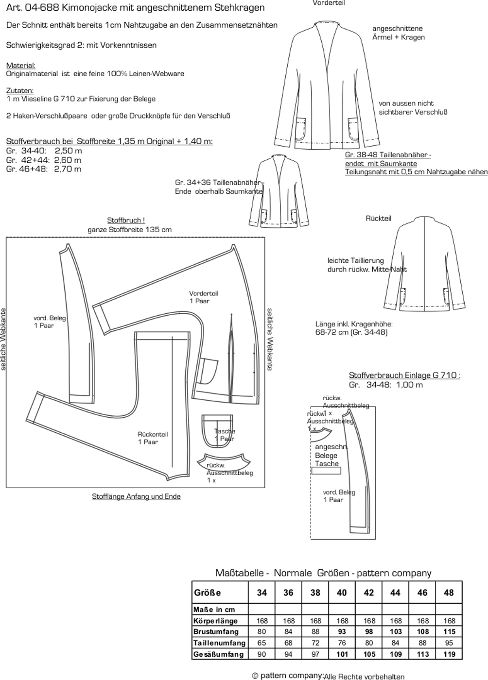 Schnittmuster - Kimonojacke mit Kragen - 04-688 - Pattern Company