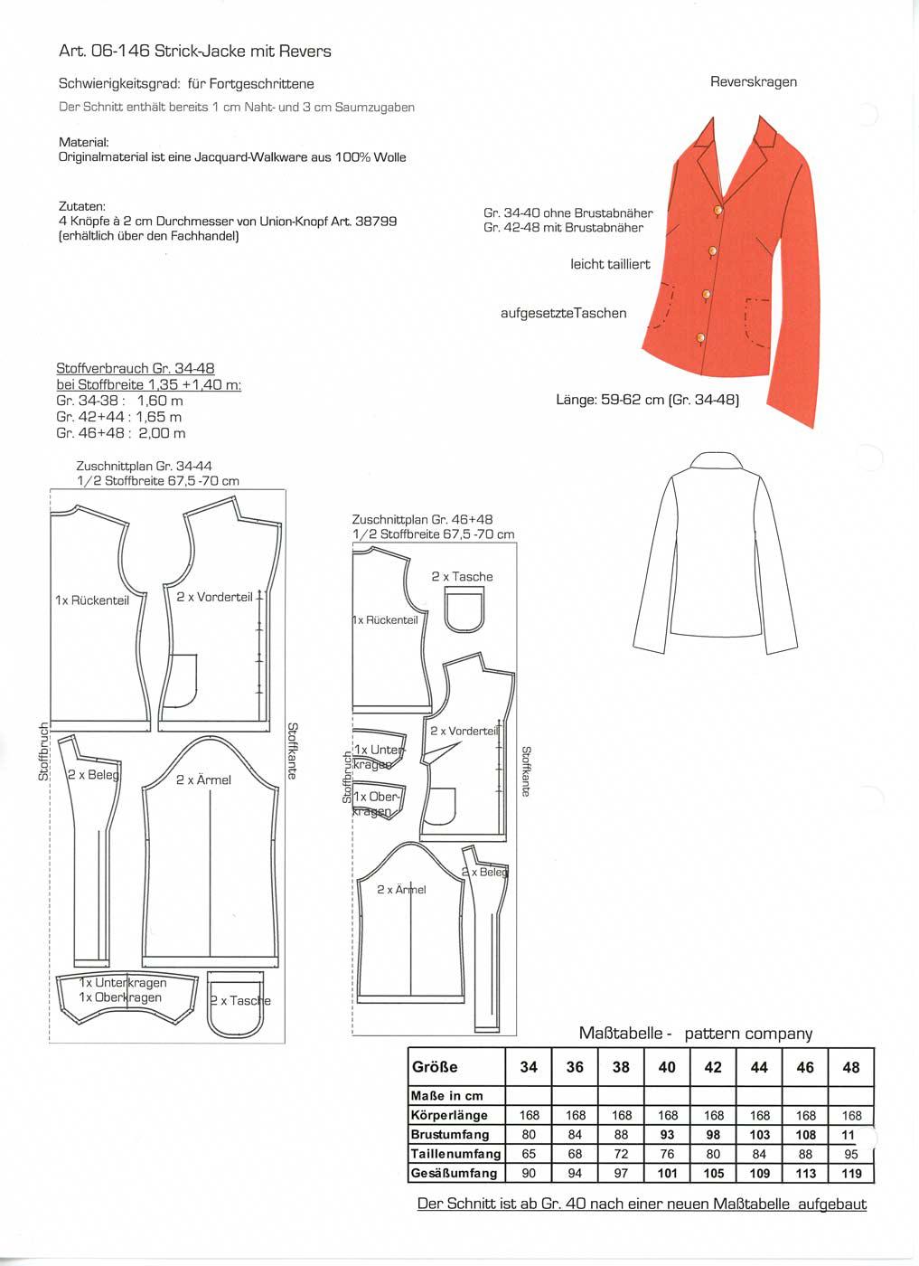 Schnittmuster - Jacke Reverskragen - 06-146 - Pattern Company