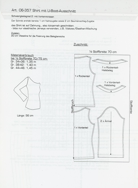 Schnittmuster - Shirt mit U-Boot-Ausschnitt - 06-357 - Pattern Company