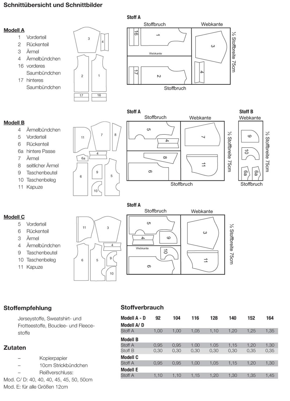Schnittmuster - Sweatshirt Kapuzenjacke Pullover - V6010 - Miou Miou